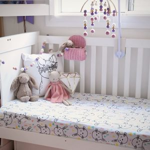 Cot Sheets Organic Jersey Fitted Cot Sheets in Some Bunny Loves You