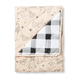 Playmats + Rugs Unicorn/Grey Gingham Cot Quilted Cover/Playmat