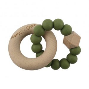 Teethers Hex + Wood Teether in Olive Green