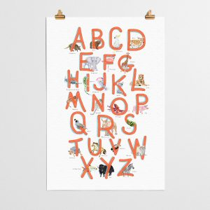 Art, Clocks + Wall Décor ABC Animal Alphabet Poster in Red