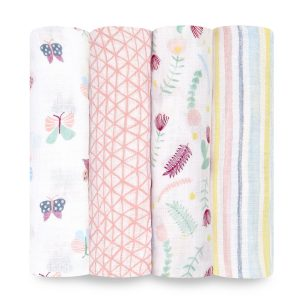 Swaddles + Baby Wraps Aden + Anais Essentials Floral Fauna 4 Pack Muslin Swaddles