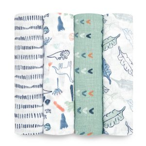 Swaddles + Baby Wraps Aden + Anais Essentials Dinotime 4 Pack Muslin Swaddles