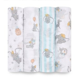 Swaddles + Baby Wraps Aden + Anais Essentials Disney Dumbo 4 Pack Muslin Swaddles