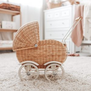 Rose Wicker Rattan Dolls Pram