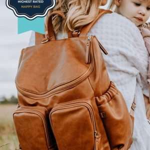 Bags PRE ORDER | Faux Leather Nappy Backpack in Tan