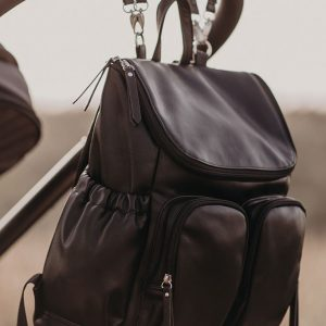 Bags Faux Leather Nappy Backpack in Black