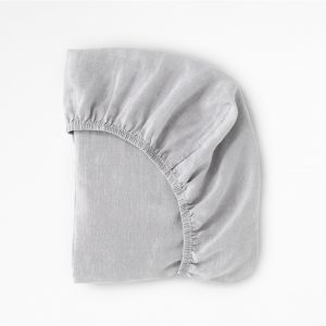 Cot Sheets 100% Linen Cot Sheet in Silver