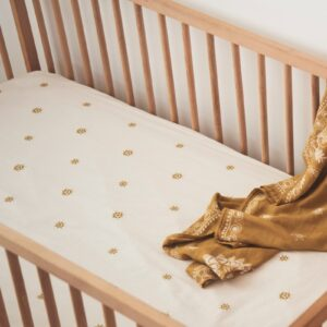 Cot Sheets Celestial Gold Hemp/Organic Cotton Fitted Cot Sheet