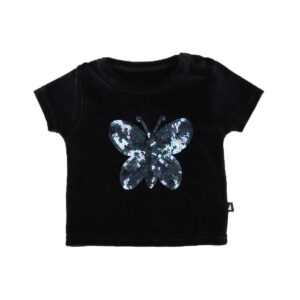 Baby Black Butterfly Sequins Short Sleeve Tee