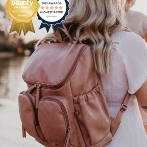 OiOi Backpack Faux Leather Nappy Backpack - Dusty Rose (PRE-ORDER MID OCTOBER)