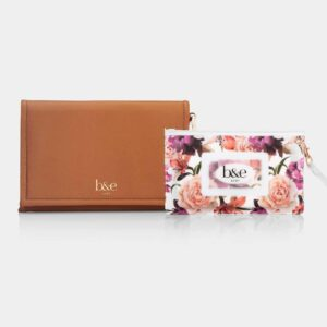 Best Sellers NEW! Nappy Change Clutch & Wipes Pouch Set in Montana Tan with Fleur