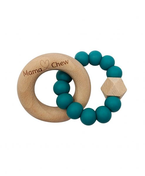 wood baby teether in emerald by Mama Chew