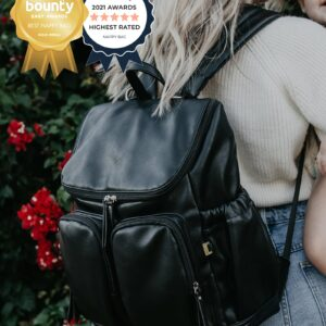 OiOi Backpack Faux Leather Nappy Backpack - Black