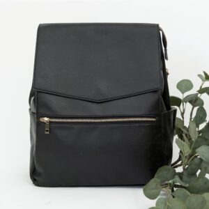 Leather Waterproof Black Henry Nappy Bag  6