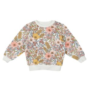 Baby Tops Vintage Floral Golden Relaxed Sweater