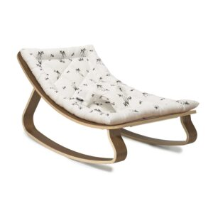 Charlie Crane Levo Rocker in Walnut with a Fawn cushion, pattern designed by Rose in April