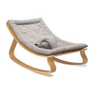 Wooden Baby Rocker by Charlie Crane, Levo in Beech with Sweet Grey Cushion