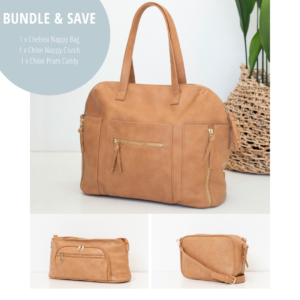 Nappy Bags Chelsea 3 Piece in Tan – Save 15%