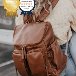OiOi Backpack Faux Leather Nappy Backpack - Tan
